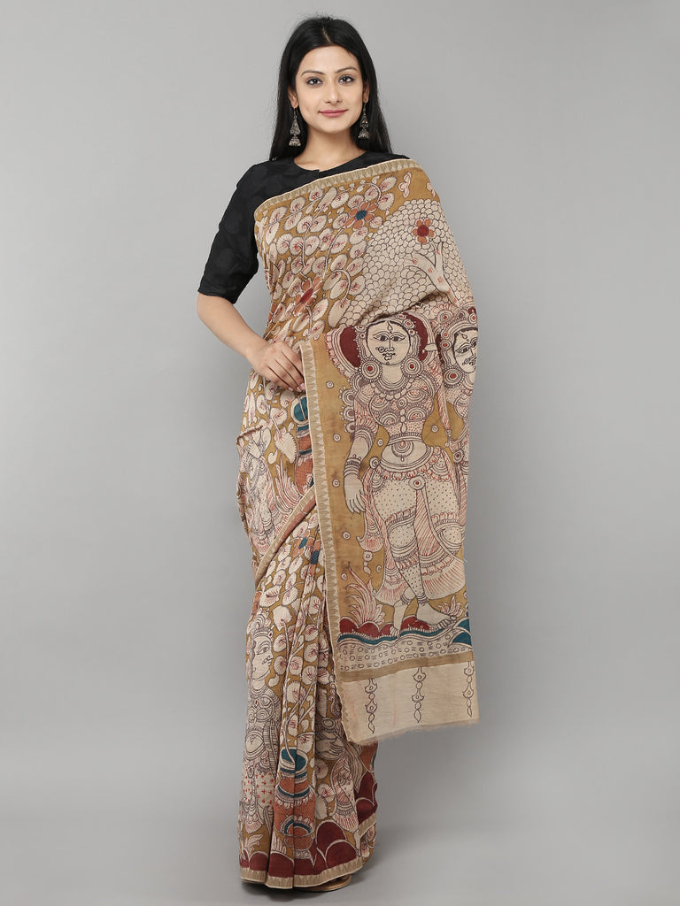 Yellow Chanderi Hand Painted Kalamkari Saree