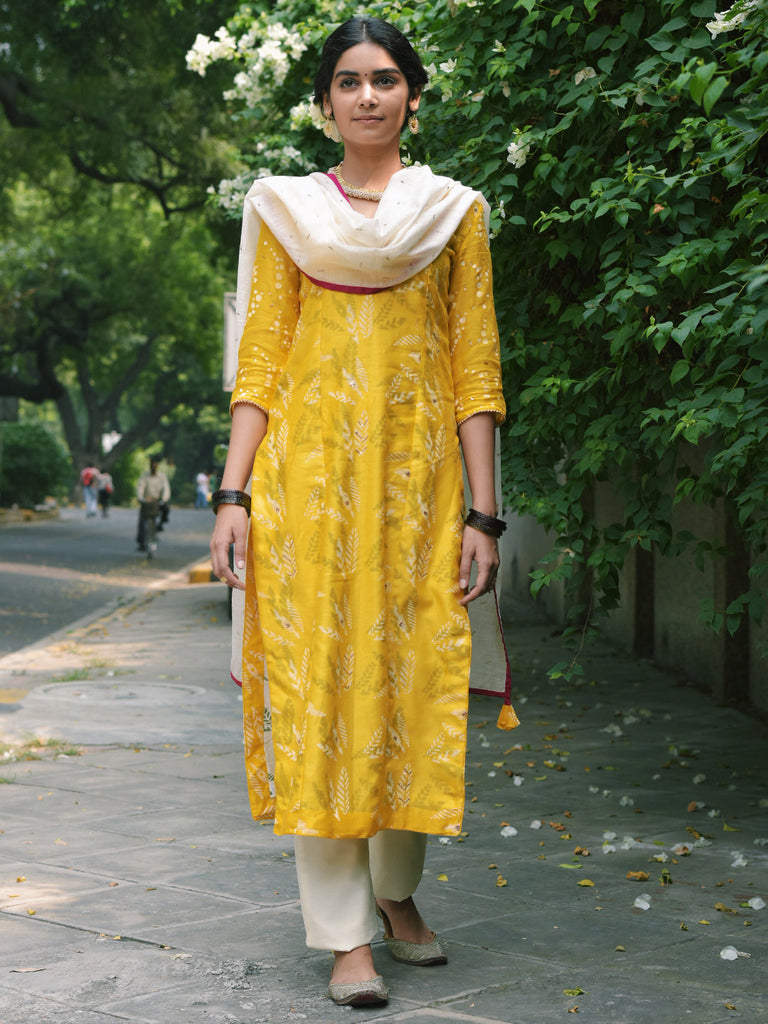 Yellow Chanderi Kurta with Off White Cotton Silk Trousers and Dupatta - Set of 3