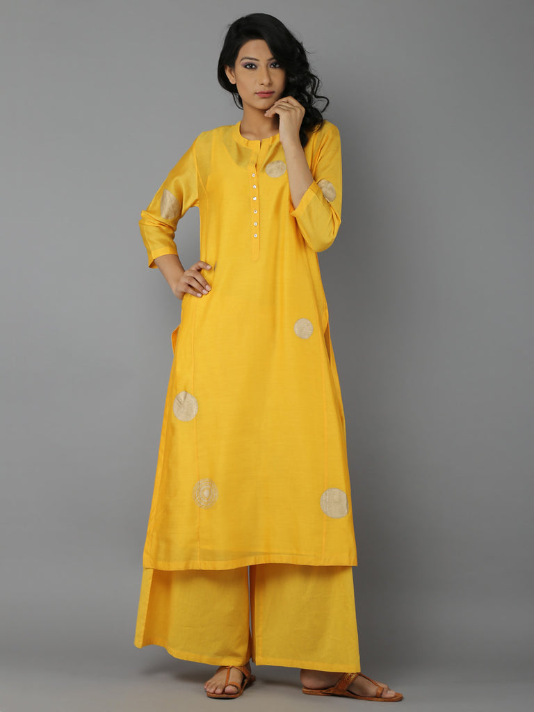 Yellow Block Printed Chanderi Kurta with Cotton Slip