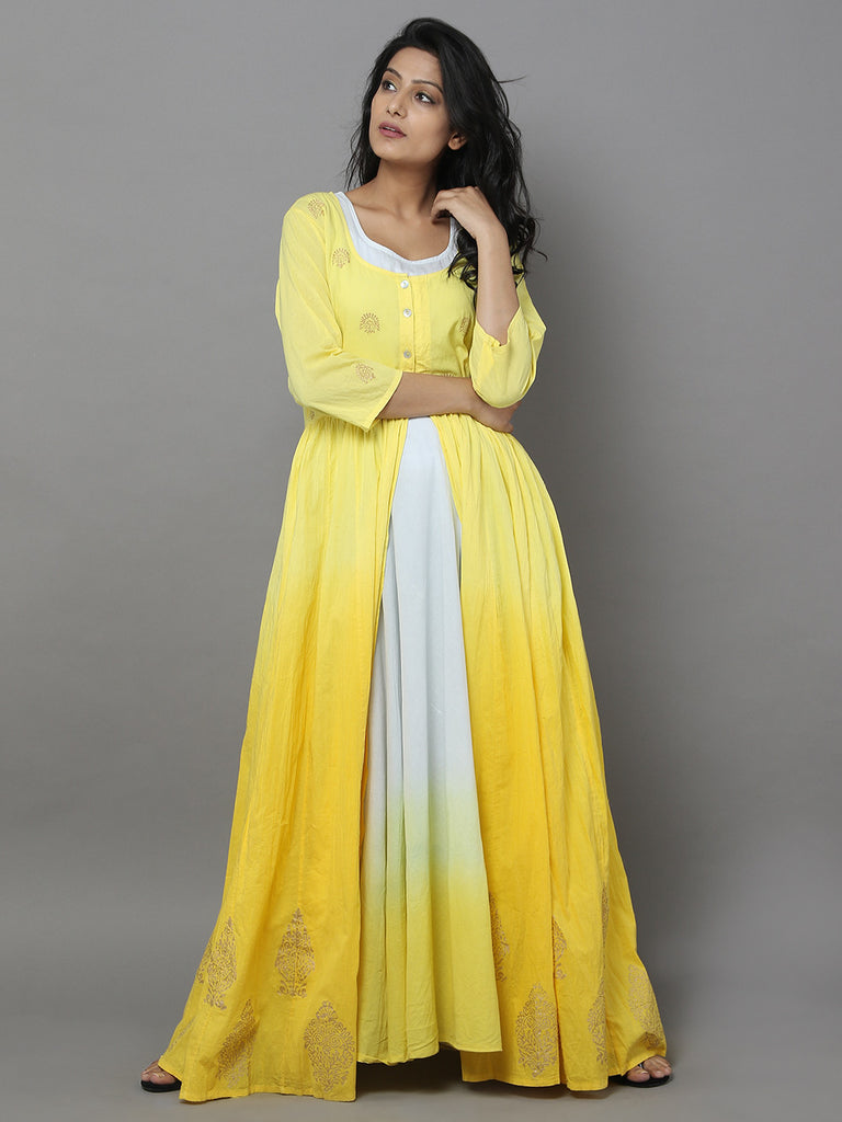Yellow Cotton Anarkali Dress