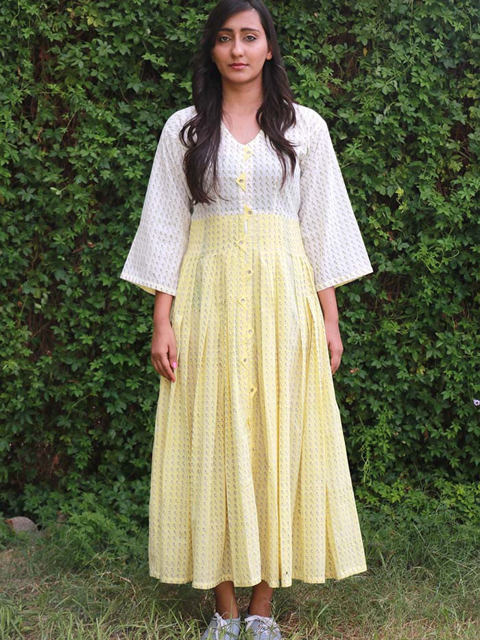 Yellow Cotton Block Printed Pleated Dress