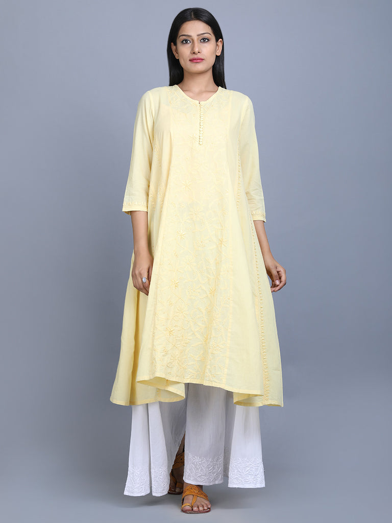 Yellow Cotton Hand Embroidered Kalidar Kurta