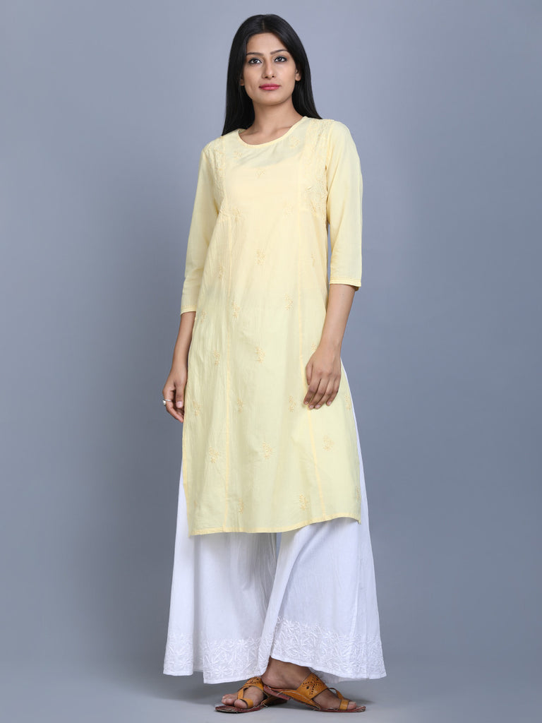 Yellow Cotton Hand Embroidered Kurta