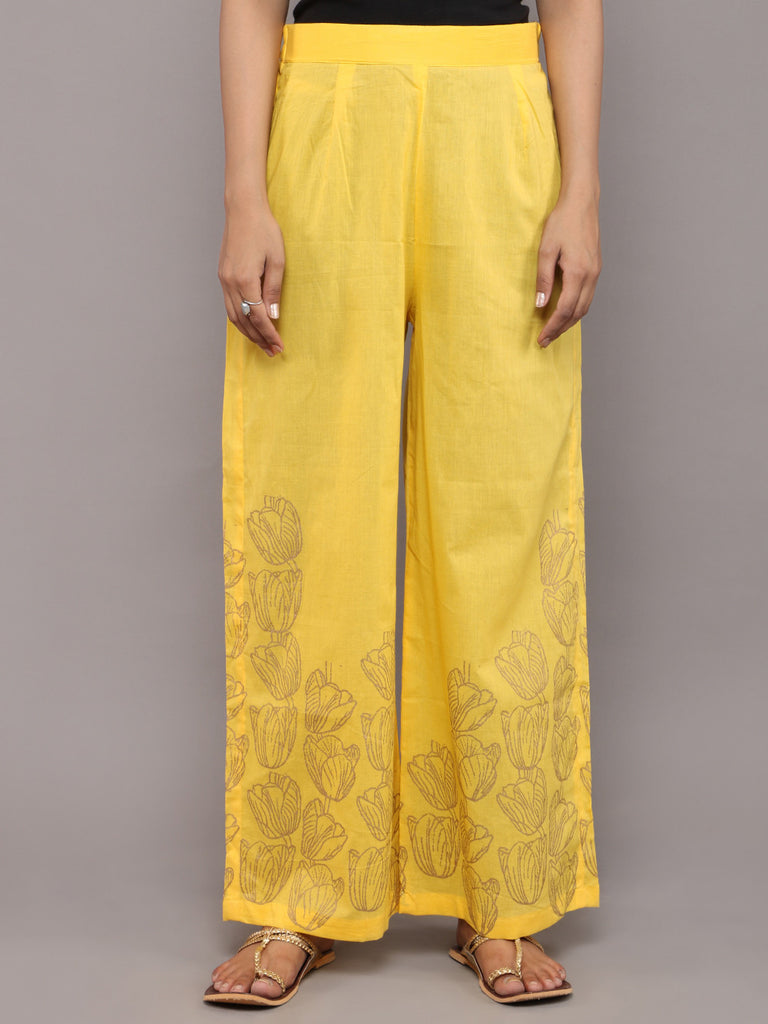 Yellow Cotton Hand Block Printed Pants