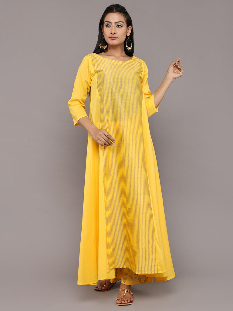 Yellow Cotton Hand Block Printed Flared Kurta
