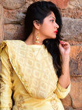 Yellow Cotton Chanderi Hand Block Printed Suit - Set of 3