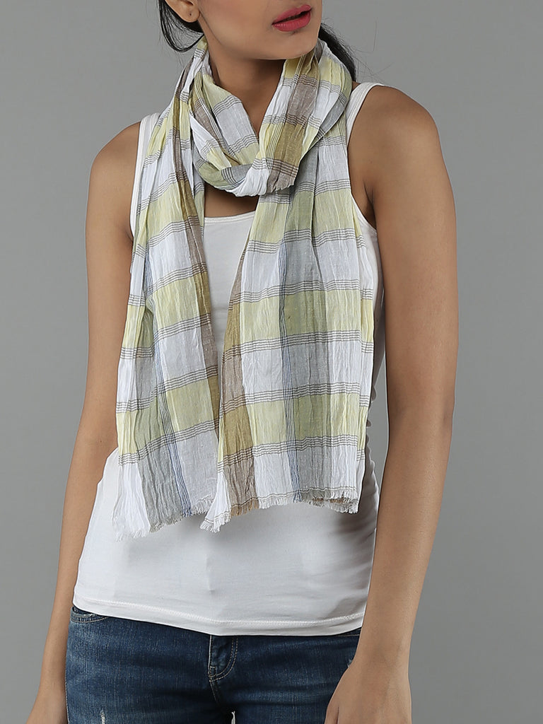 Yellow Cotton Check Scarf