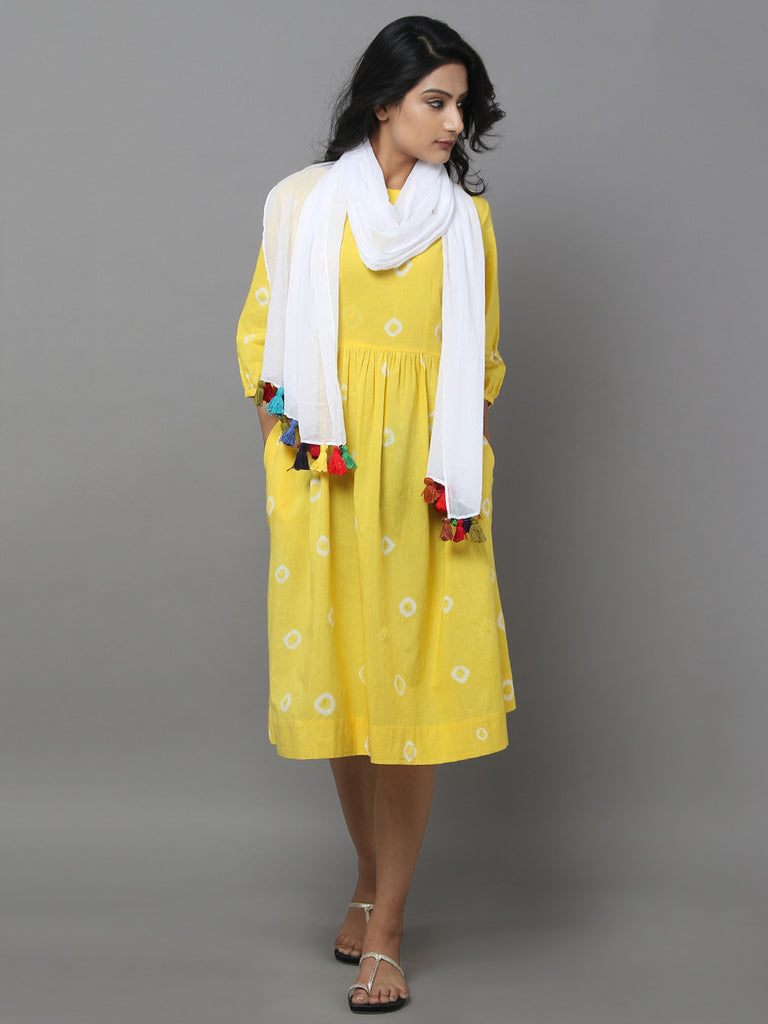 Yellow Cotton Dress with White Stole