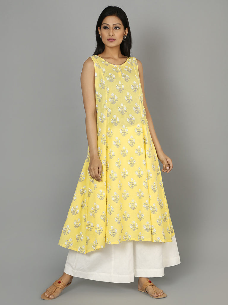 Yellow Cotton Linen Anarkali