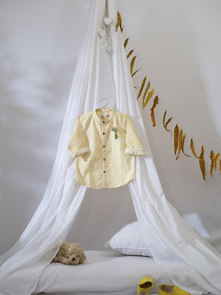 Yellow Cotton Handwoven Little Man's Play Shirt