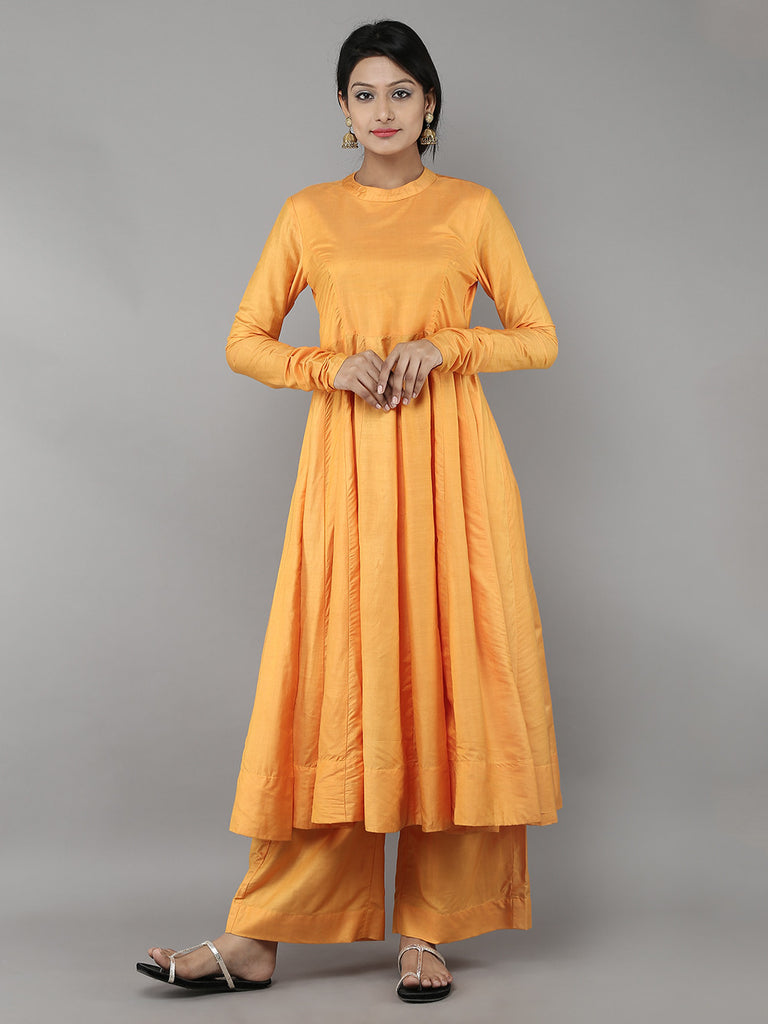 Yellow Cotton Silk Anarkali with Palazzo- Set of 2