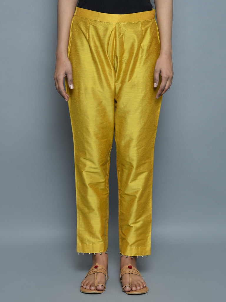 Yellow Cotton Silk Pants