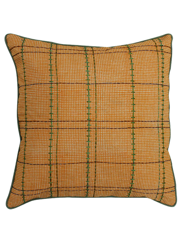 Mustard Cotton Slub Block Printed and Embroidered Cushion Cover