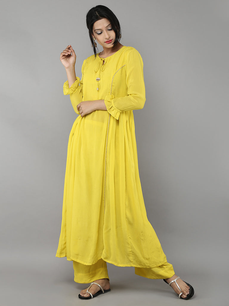 Yellow Crepe Side Pleat Kurta with Palazzo - Set of 2