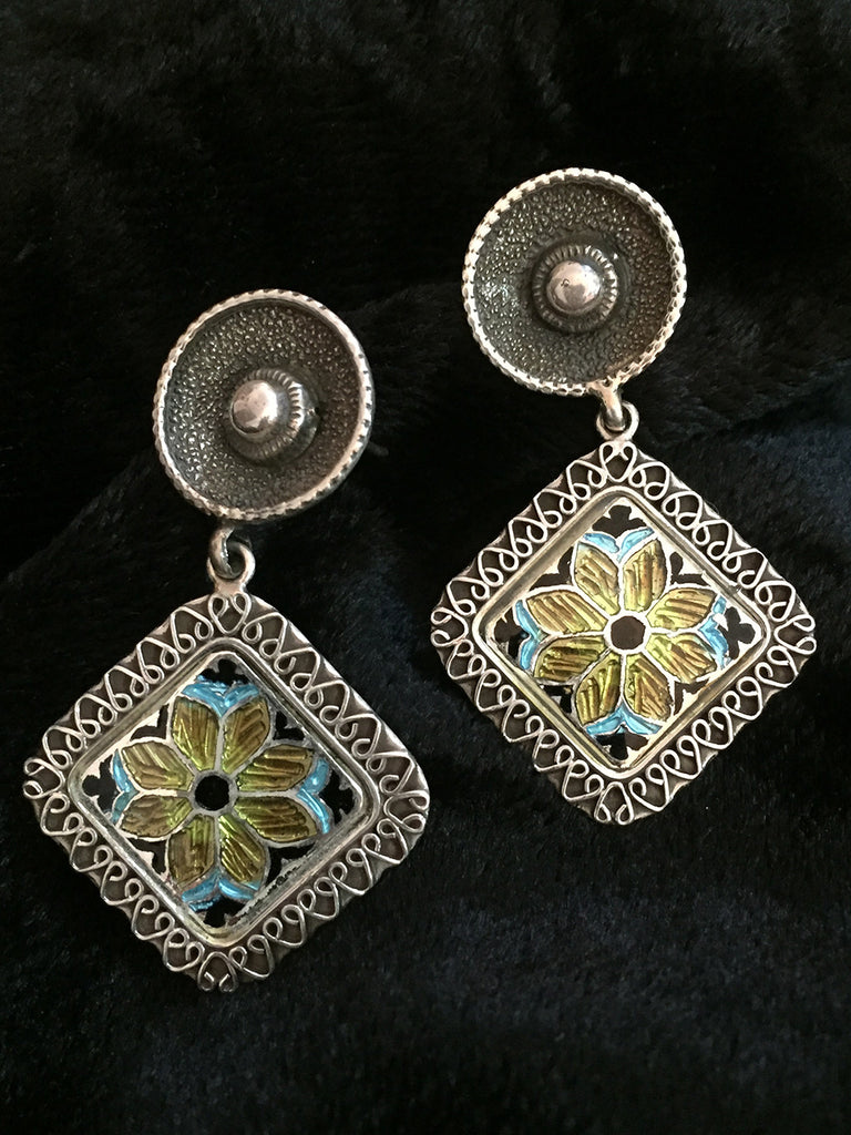 Yellow Flower Square Silver Earrings