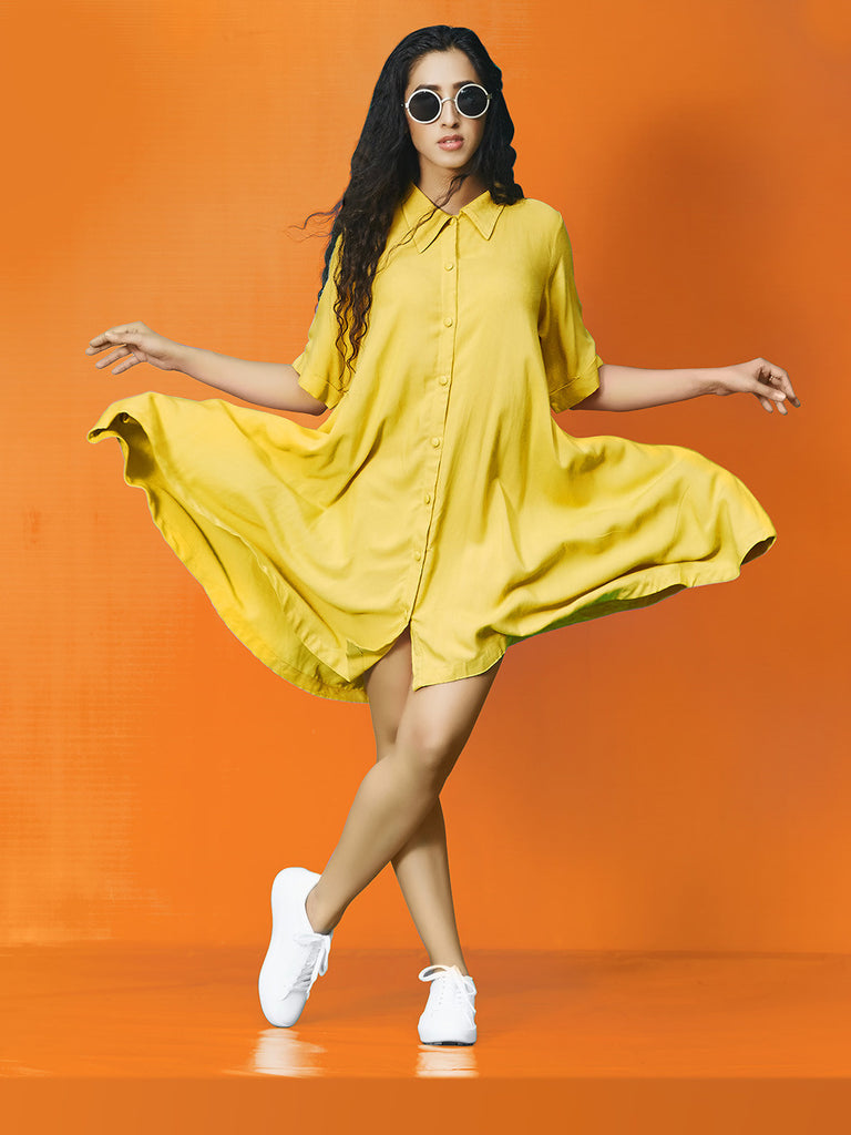 Yellow Flowy Umbrella Rayon Cotton Midi