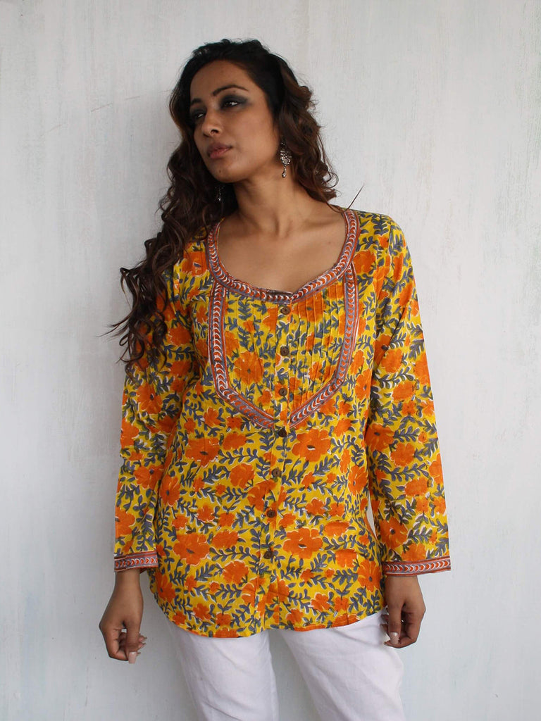 Yellow Cotton Hand Block Printed Top