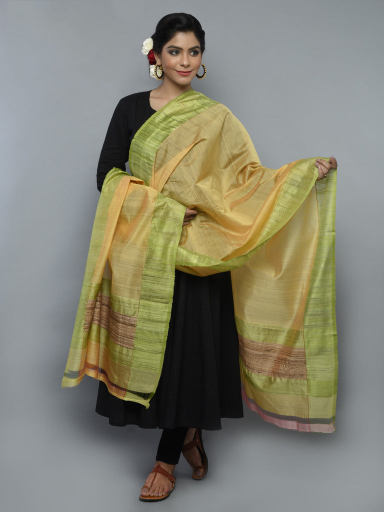 Yellow Green Kora Cotton Handwoven Banarasi Dupatta