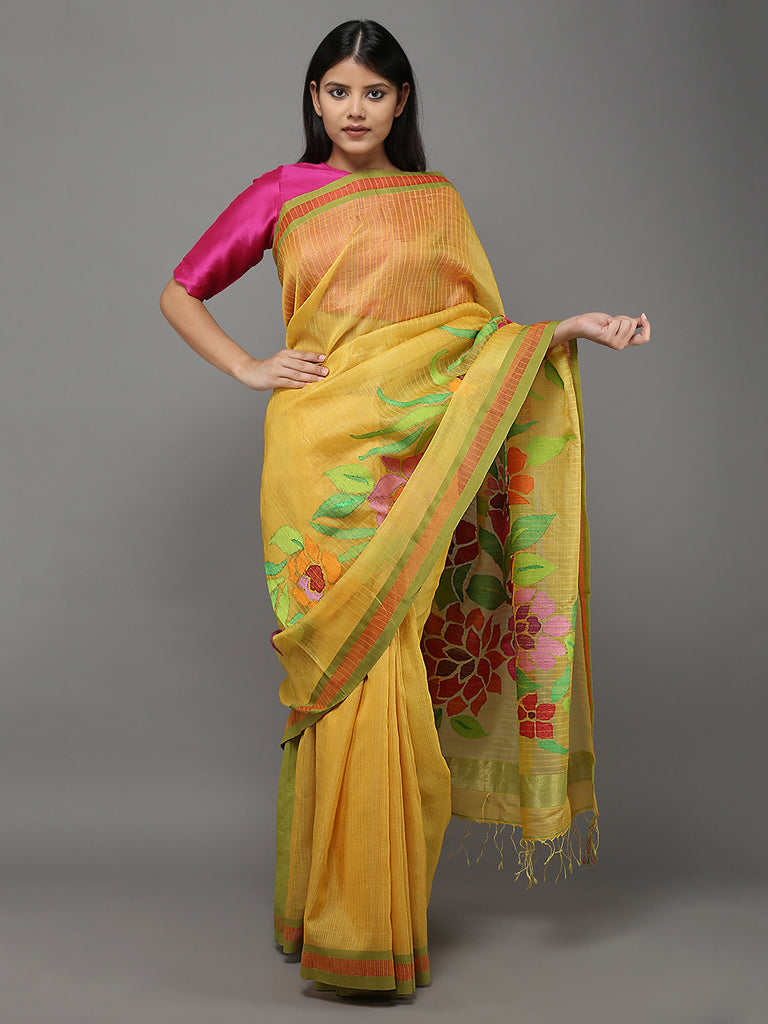 Yellow Green Handwoven  Banarasi  Cotton Silk Saree
