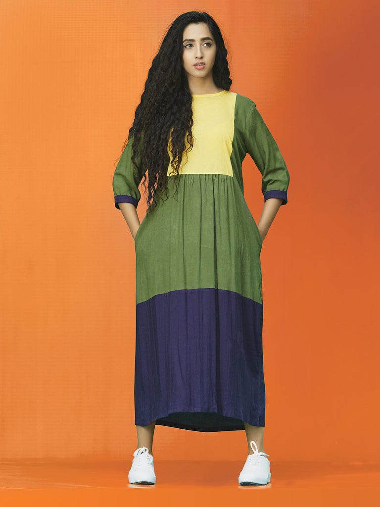 Yellow Green Navy Rayon Cotton Midi Dress