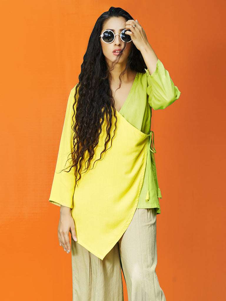 Yellow Green Rayon Cotton Angarakha Top