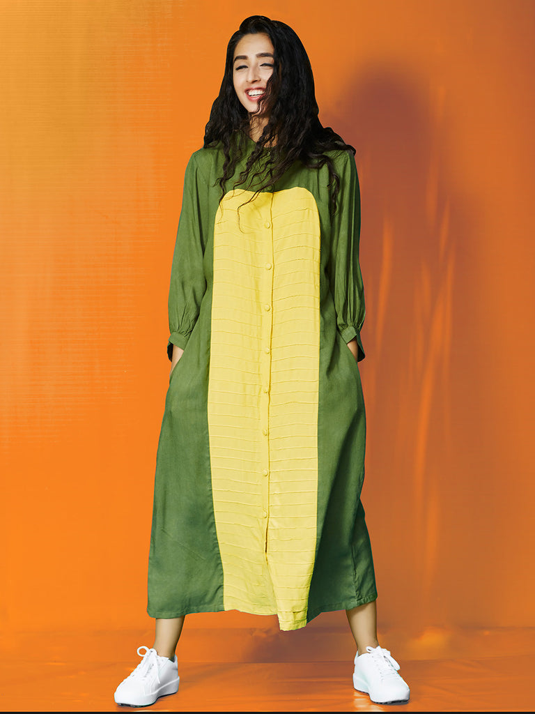 Yellow Green Rayon Cotton Pin Tucks Dress