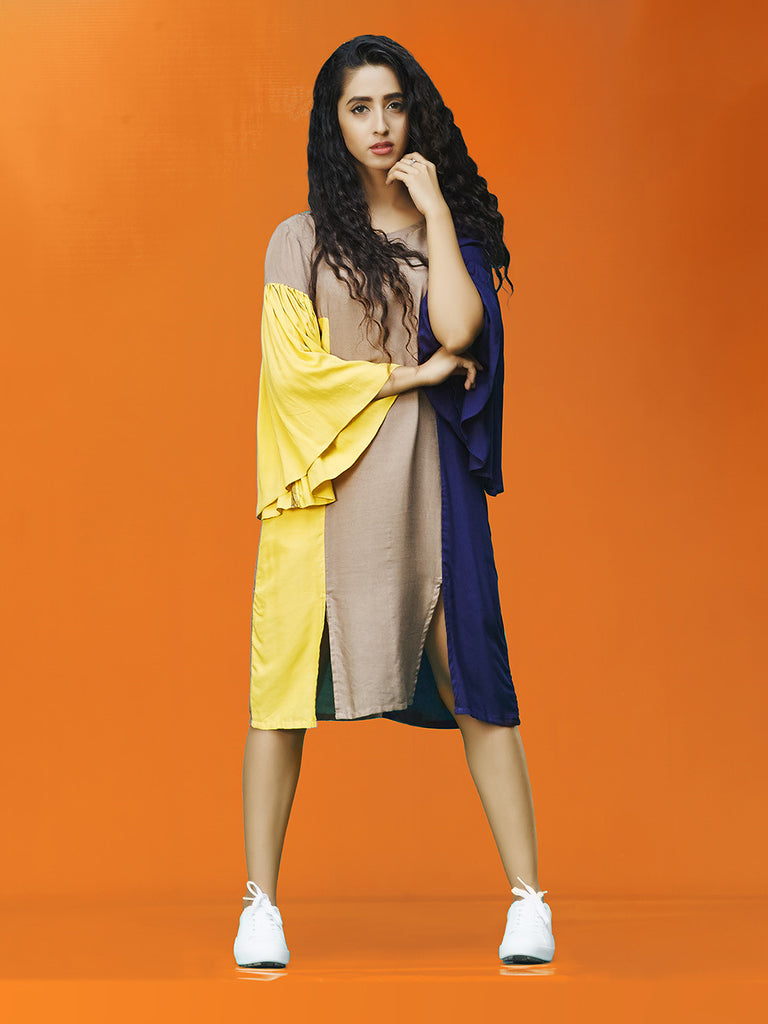 Yellow Grey Navy Rayon Cotton Midi