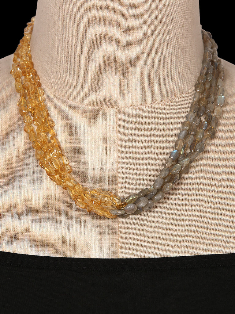 Citrine and Labradotite Half Bunched Necklace