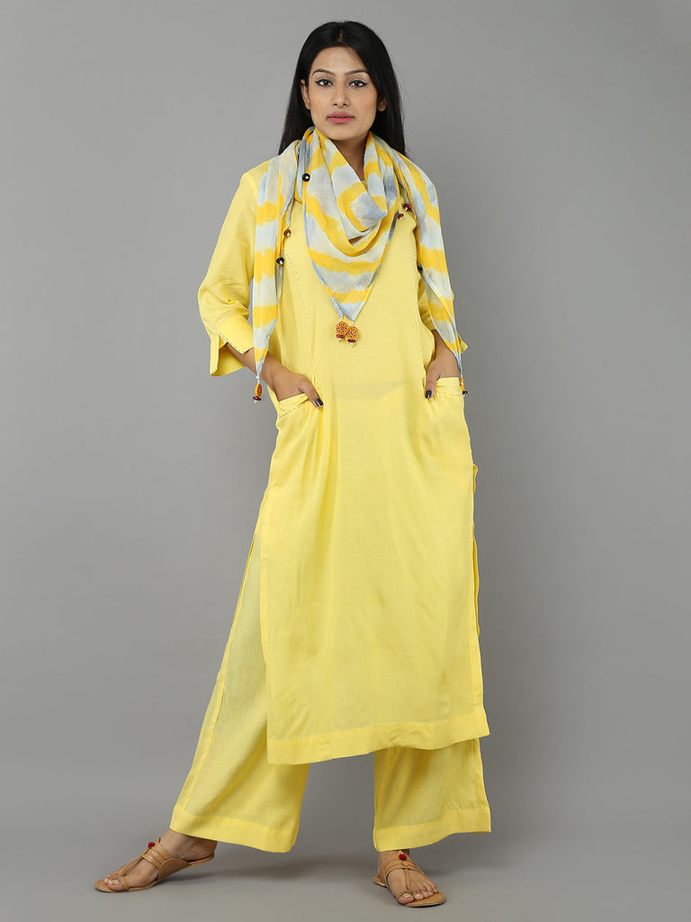 Yellow Grey Tie and Dye Chanderi Scarf