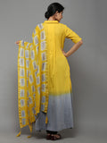 Yellow Grey Tie and Dye Cotton Dress - Set of 2