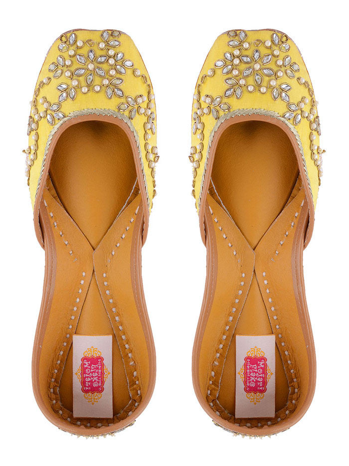 Yellow Hand Embroidered Leather Mojari
