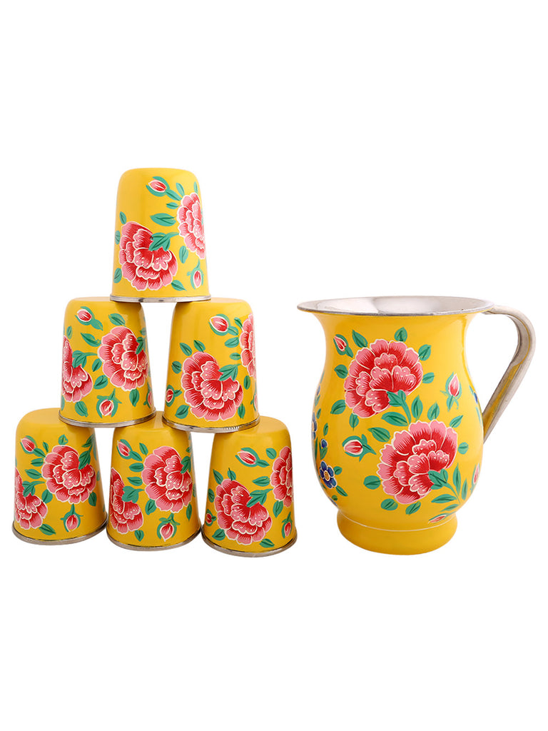 Yellow Hand Painted Jug with 6 Tumblers