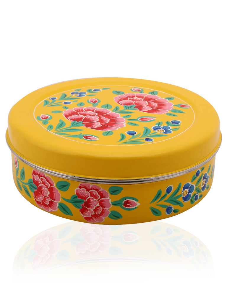 Yellow Hand Painted Masala Box