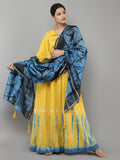 Yellow Indigo Tie and Dye Cotton Dress with Chanderi Dupatta - Set of 2
