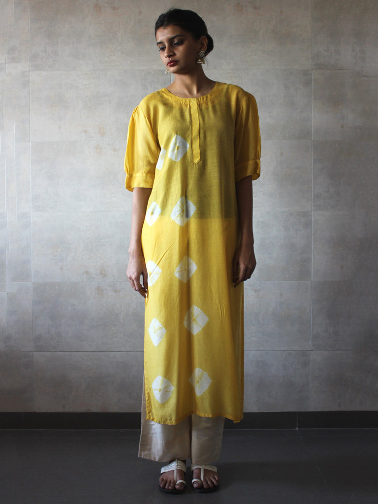 Yellow Ivory Bandhej Cotton Silk Straight Tunic