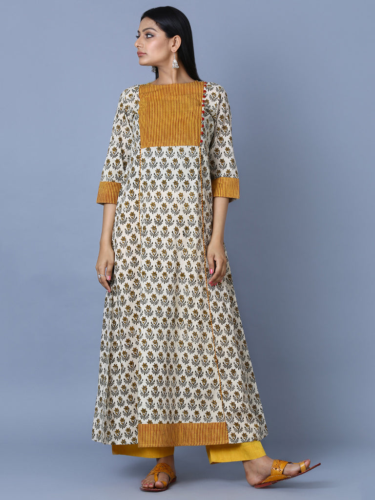 Mustard Grey Cotton Hand Block Printed A-line Dress