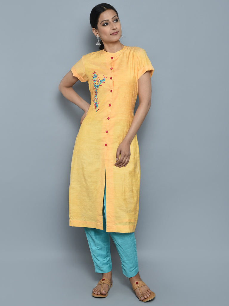 Yellow Khadi Cotton Silk Hand Embroidered Kurta