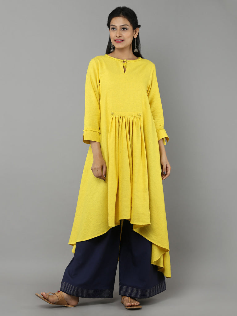 Yellow Khadi Kurta with Navy Palazzo - Set of 2