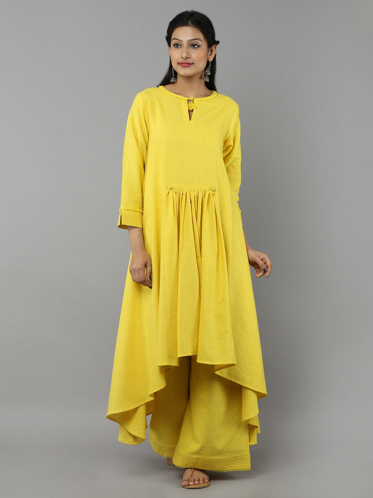 Yellow Khadi Kurta with Palazzo - Set of 2