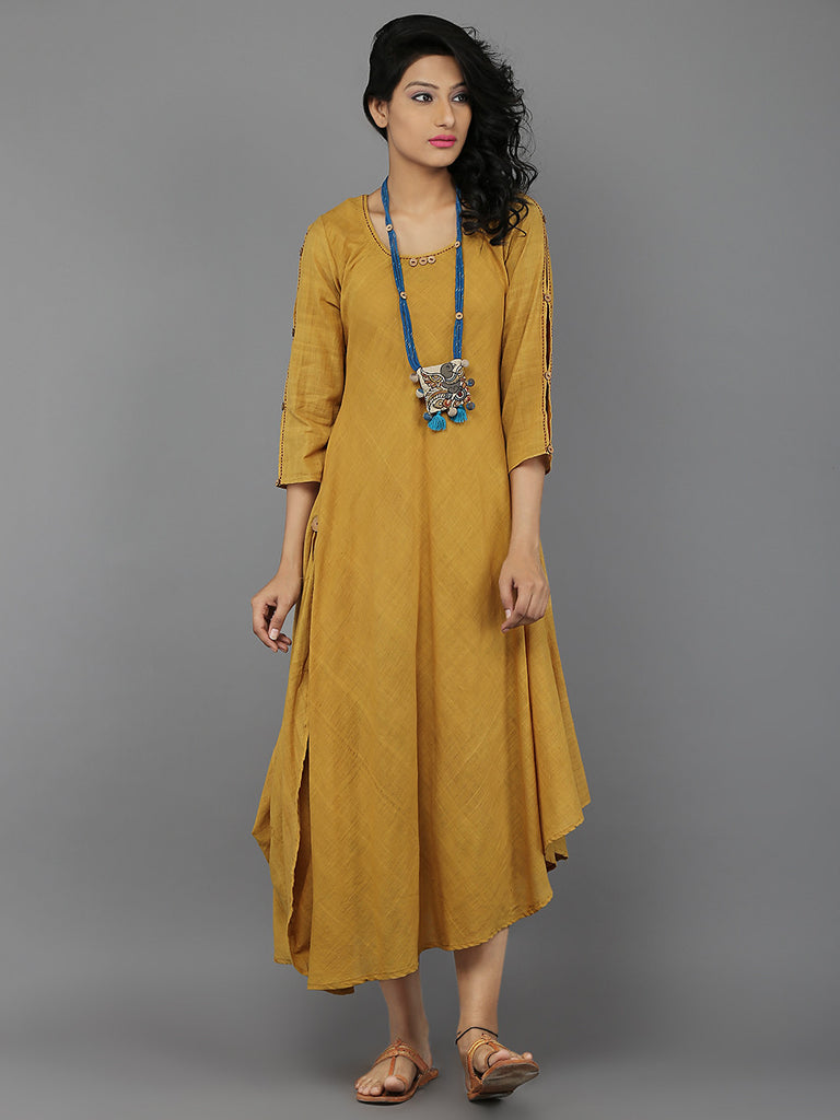 Yellow Khadi Kurta with Kalamkari Neckpiece