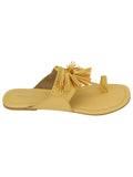 Yellow Leatherette Jhalar Flats
