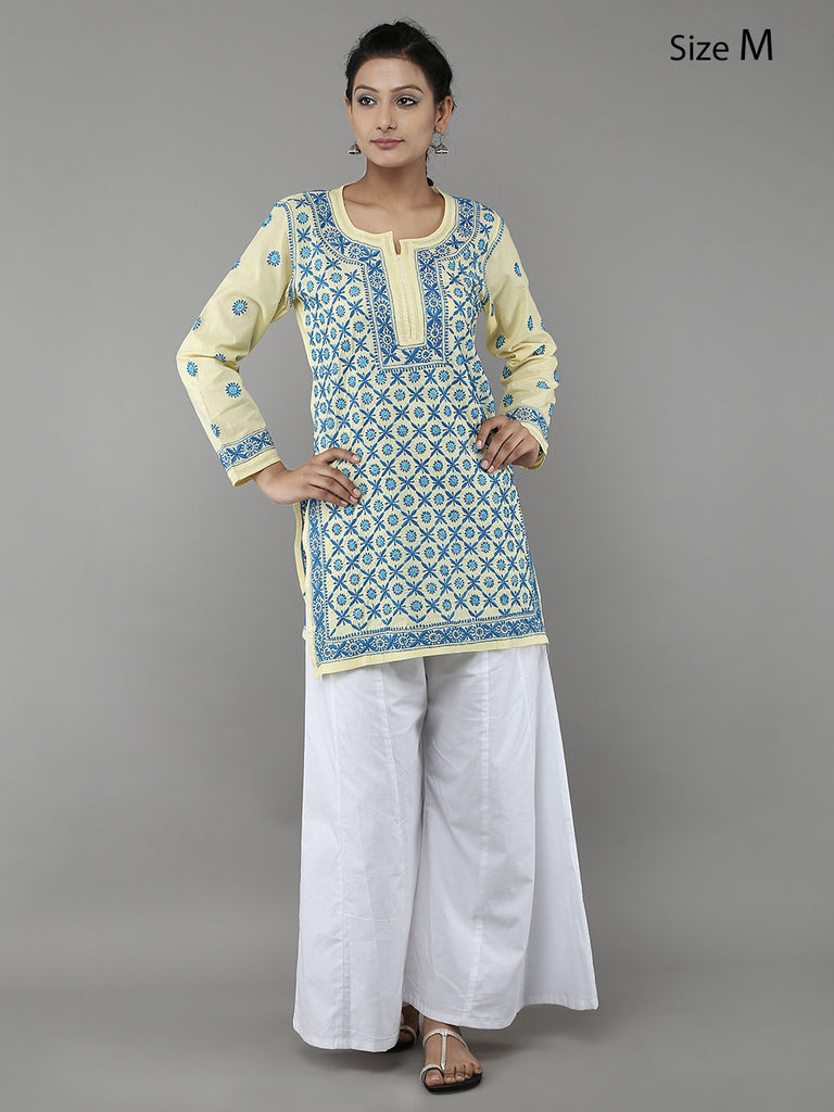 Yellow Lucknowi Hand Embroidered Cotton Kurta