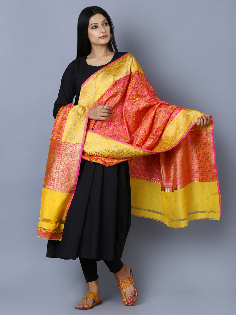 Yellow Magenta Kora Cotton Handwoven Banarasi Dupatta