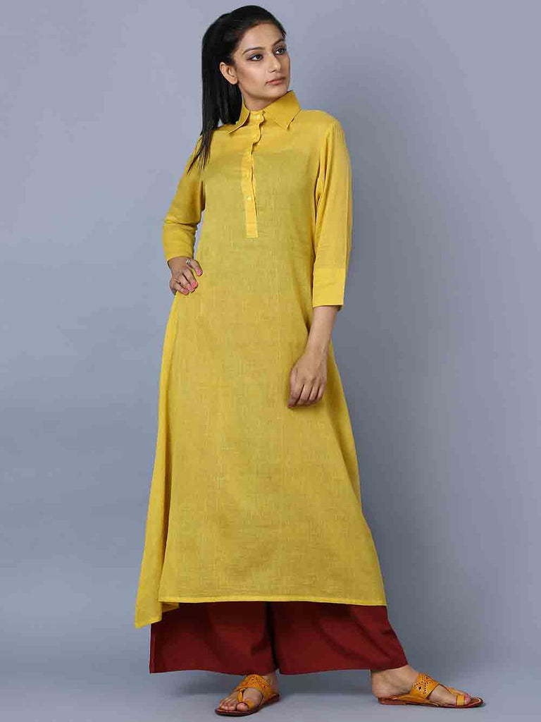 Yellow Maroon Mulmul Kurta and Palazzo - Set of 2