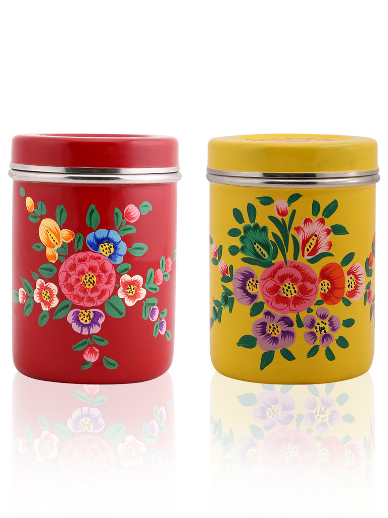 Yellow Maroon Multi Color Hand Painted Canisters - Set of 2