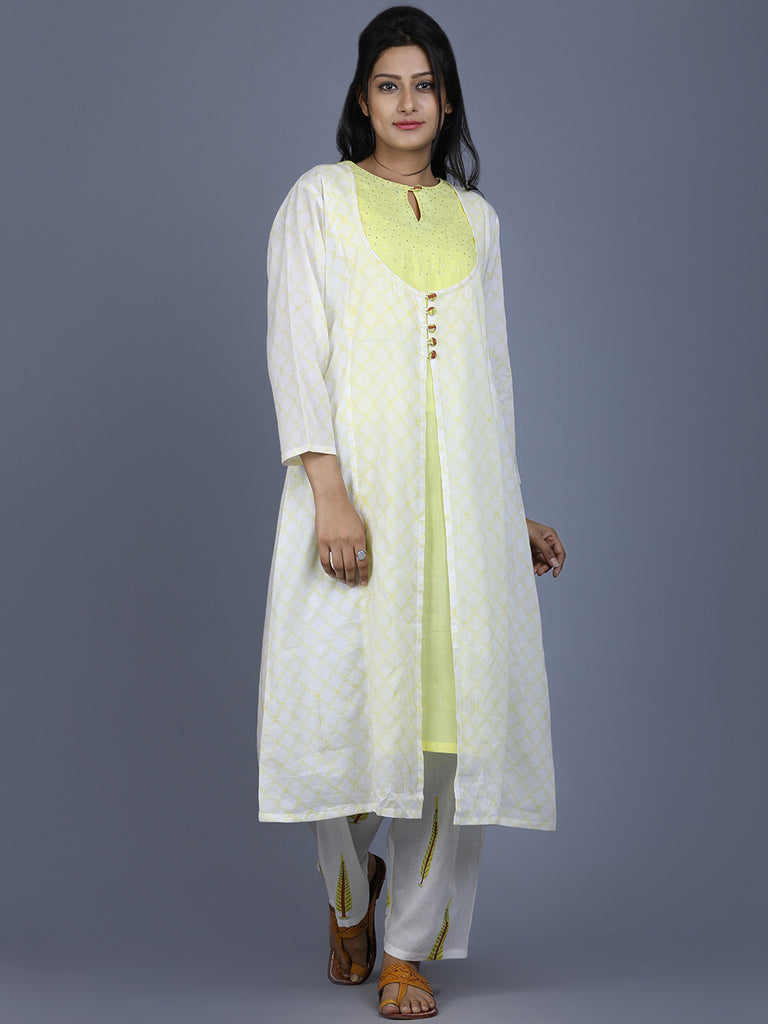 Yellow Off White Mul Cotton Jacket Kurta with Farsi Pants - Set of 2