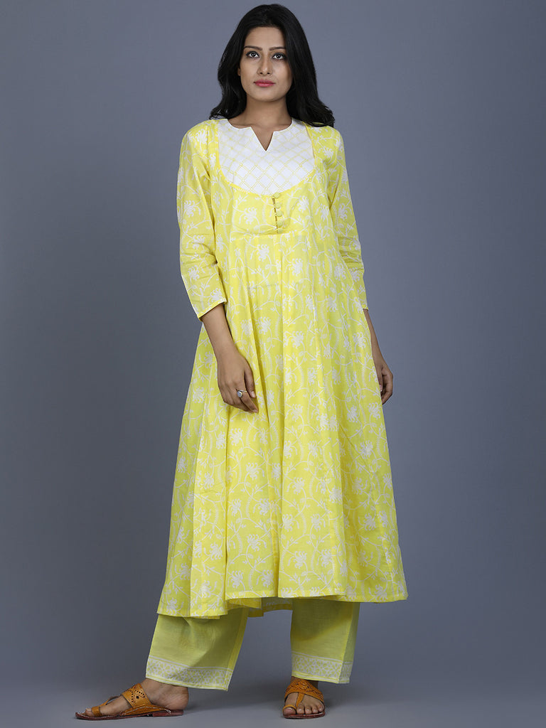 Yellow Mul Cotton Kalidar Kurta with Farsi Pants - Set of 2