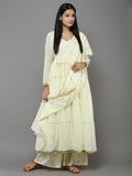Yellow Mulmul Anarkali Suit  - Set of 3
