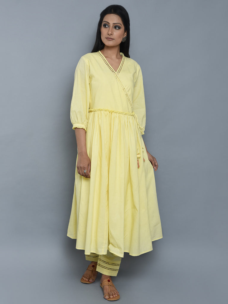 Lemon Yellow Mulmul Cotton Angrakha Kurta and Pants - Set of 2