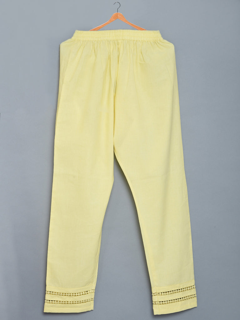 Lemon Yellow Mulmul Cotton Pants